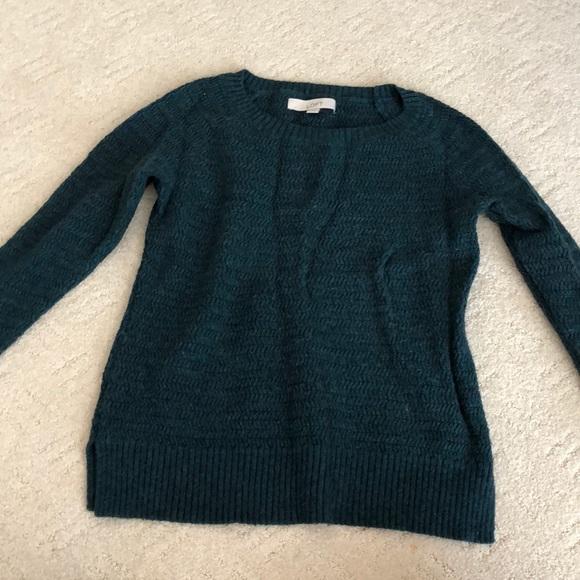 3b47a1b7e6e669 LOFT Sweaters | Green And Blue Cable Knit Sweater | Poshmark